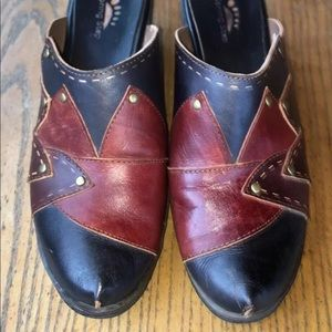 Spring Step Sz 38 Leather Patchwork Clogs Mules